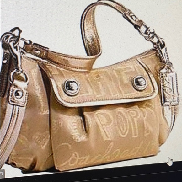Coach GoldSignature PoppyCrossbody wHanging Decals